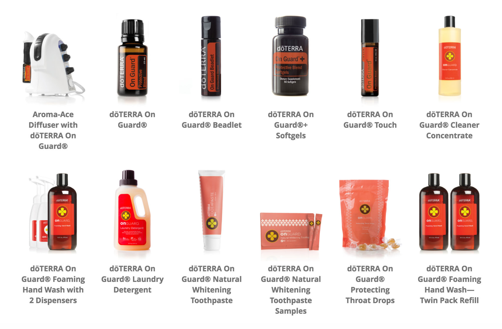 Proprietary doTERRA On Guard Protective Blend and cleaning products