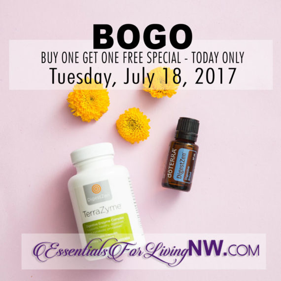 BOGO - TUESDAY only July 18, 2017 - Buy one TerraZyme get one 15mL DigestZen FREE